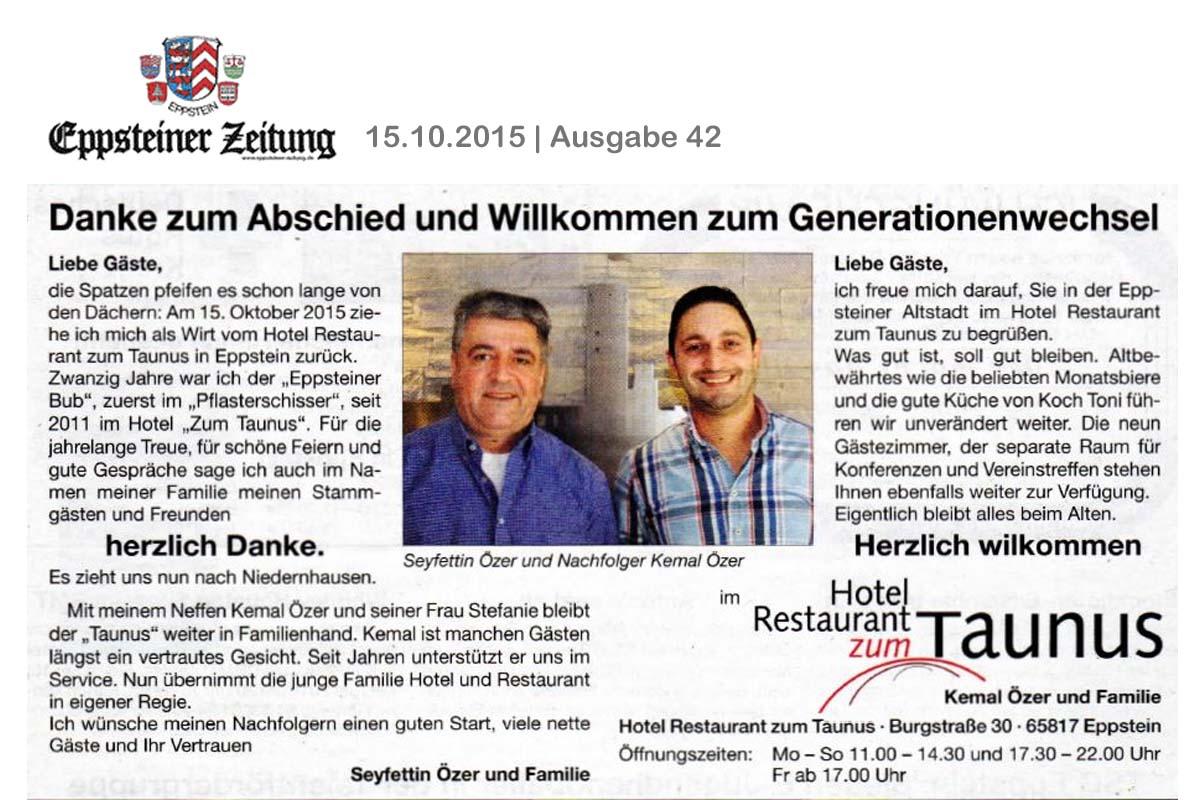 Generationswechsel im Hotel Restaurant zum Taunus in Eppstein